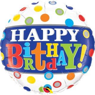 Folienballon Birthday Band & Dots