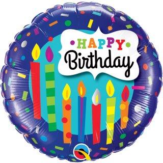 Folienballon Birthday Candles und Confetti