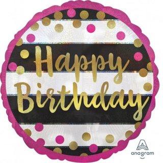 Folienballon Birthday Pink and Gold Milestone