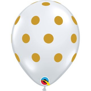 Latexballon 11in/27,9cm Big Polka Dots gold (transparent)