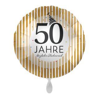 Folienballon Zahl 50 Jahre Golden Stripes