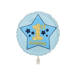 Folienballon 1st Birthday Blue & Gold Boy