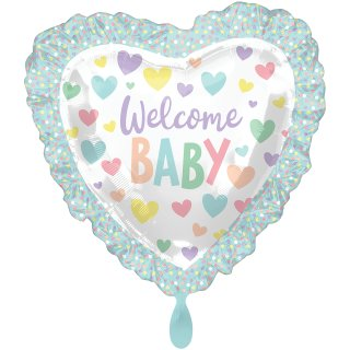 Folienballon Baby Shower Ruffle Heart groß