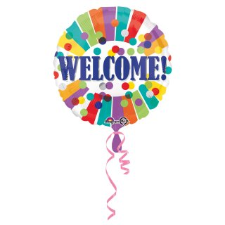 Folienballon Welcome Dots & Stripes