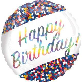 Folienballon Iridescent Birthday Confetti
