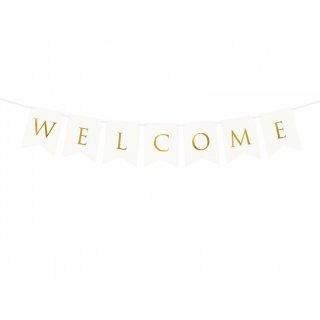 Bannergirlande Welcome weiß