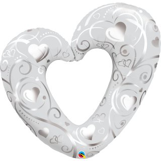Folienballon Hearts and Filigree pearl white