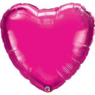 Folienballon Herz Magenta glänzend groß