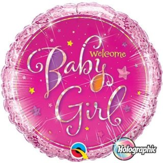 Folienballon Welcome Baby Girl*