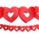 Papiergirlande Herzen rot