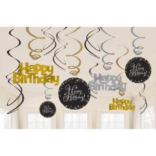 Deko Spirale Happy Birthday Sparkling Celebration Gold