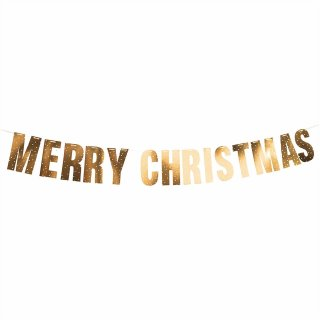Bannergirlande Merry Christmas gold
