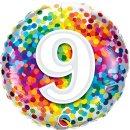 Folienballon Zahl   9 Konfetti