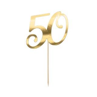 Cake Topper 50 gold