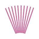 Trinkhalme pink mit weißen Punkten