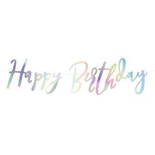 Bannergirlande Happy Birthday irisierend