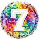 Folienballon Zahl   7 Konfetti