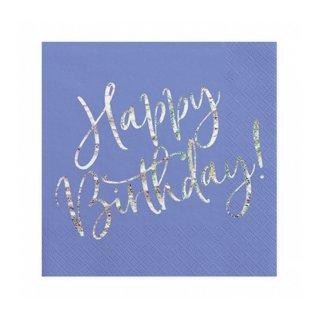 Servietten Happy Birthday blau silber