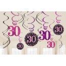 Deko Spirale Zahl 30 Sparkling Celebration pink