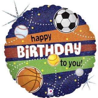 Folienballon Happy Birthday Sports