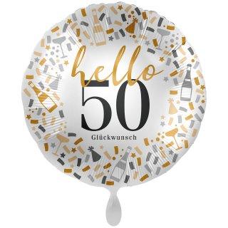 Folienballon Zahl 50 hello Glückwunsch groß