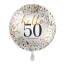 Folienballon Zahl 50 hello Glückwunsch