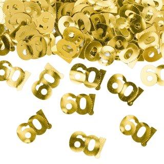 Konfetti Zahl 60 metallic gold