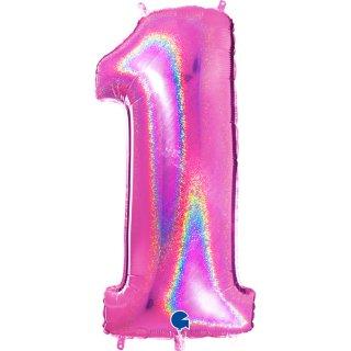 Folienballon Zahl 1 fuchsia glitter holografic
