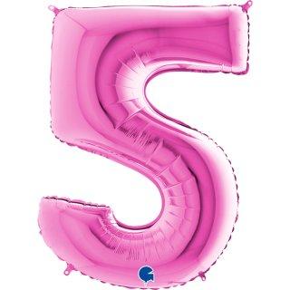 Folienballon Zahl 5 pink