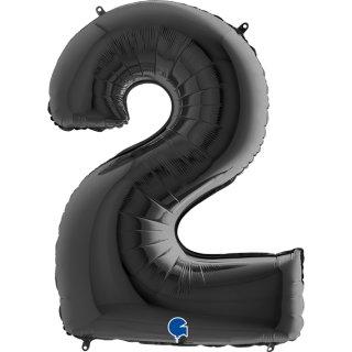 Folienballon Zahl 2 schwarz