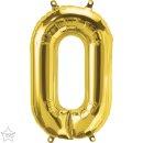 Folienballon Zahl 0 gold klein nur Luftfüllung