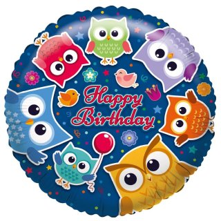 Folienballon Birthday Eulen