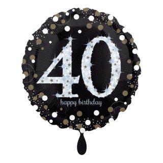 Folienballon Zahl 40 Sparkling Birthday
