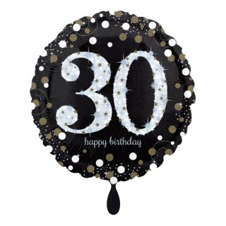 Folienballon Zahl 30 Sparkling Birthday