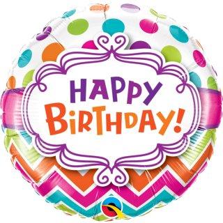 Folienballon* Birthday Chevron Dots