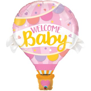 Folienballon Welcome Baby Pink Balloon
