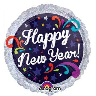 Folienballon silber prismatic Happy New Year