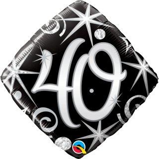Folienballon Zahl 40 Elegant Sparkles & Swirls