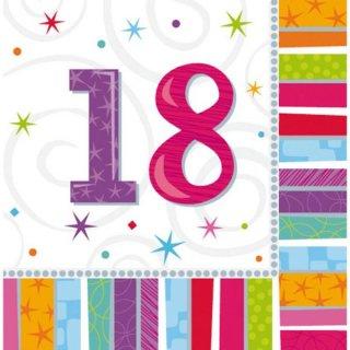 Servietten Geburtstag Zahl 18 Radiant
