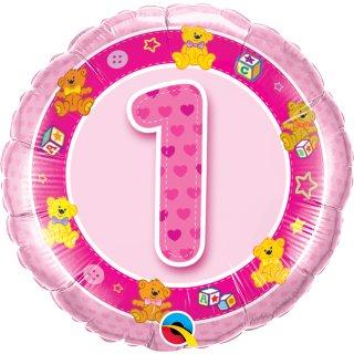 Folienballon Zahl 1 rosa