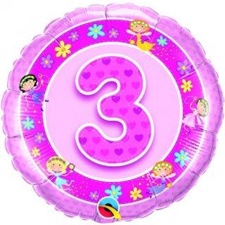 Folienballon Zahl 3 rosa