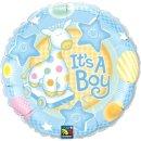 Folienballon Baby Its a Boy Giraffe blau