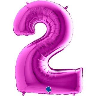Folienballon Zahl 2 violett