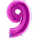 Folienballon Zahl 9 violett