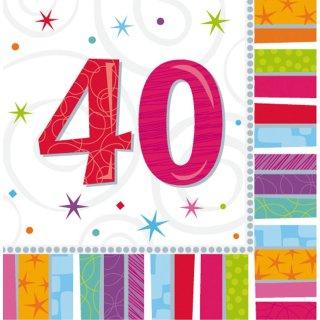 Servietten Geburtstag Zahl 40 Radiant