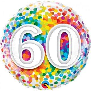 Folienballon Zahl 60 Birthday Konfetti