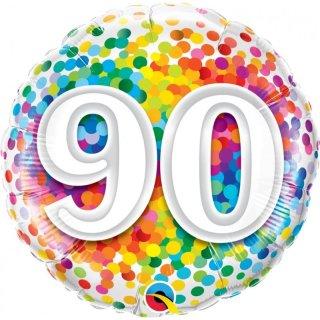 Folienballon Zahl 90 Birthday Konfetti