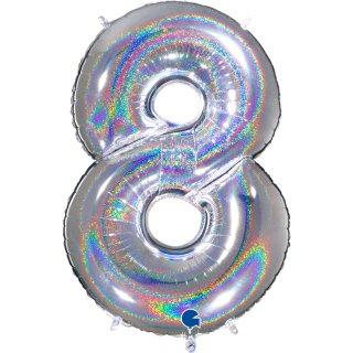 Folienballon Zahl 8 silber glitter holografic