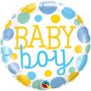 Folienballon Baby Boy Dots