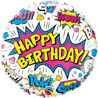 Folienballon Birthday Super Hero White